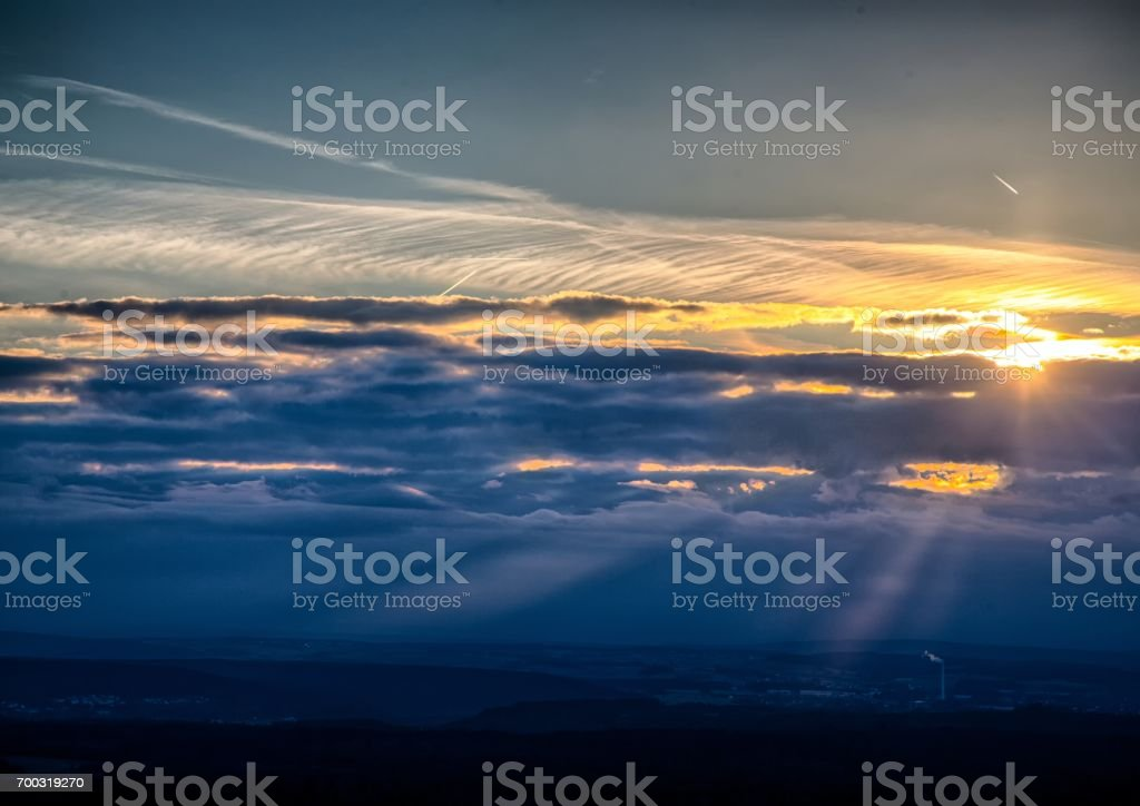 Sundawn over the franconian suisse in Bavaria in south Germany stock photo