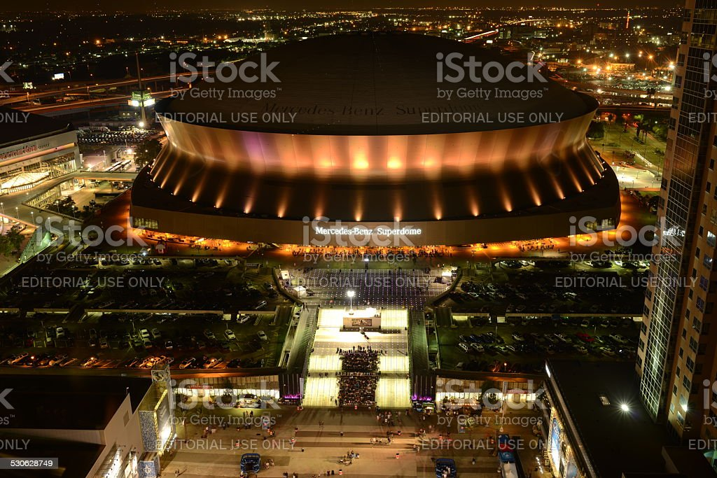 Sunday Game Night at Superdome stock photo