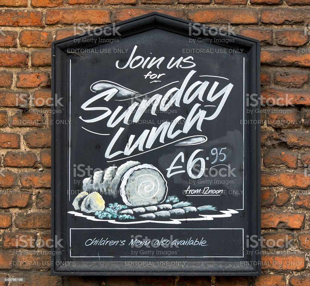 Sunday lunch menu board outside a pub stock photo