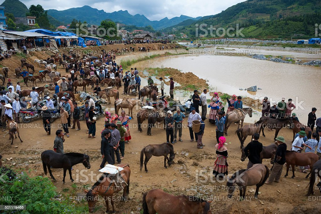 Sunday market in Bac Ha, Vietnam stock photo