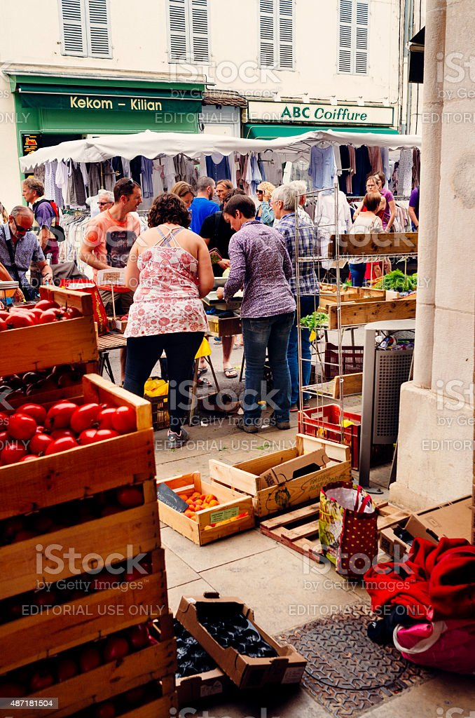 Sunday market in France stock photo