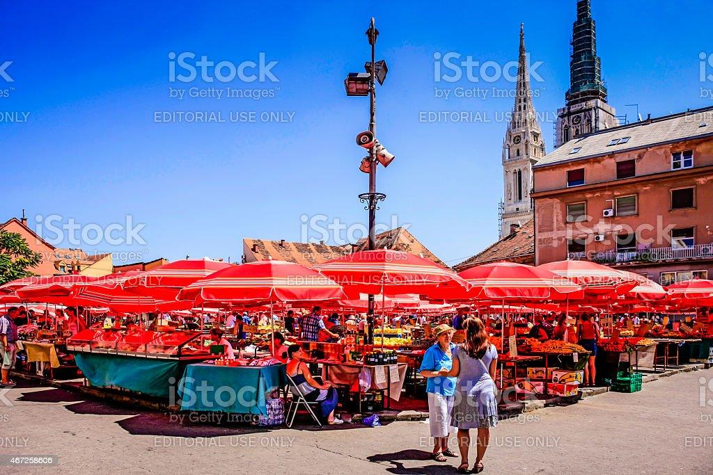 Sunday Market in Zagreb stock photo