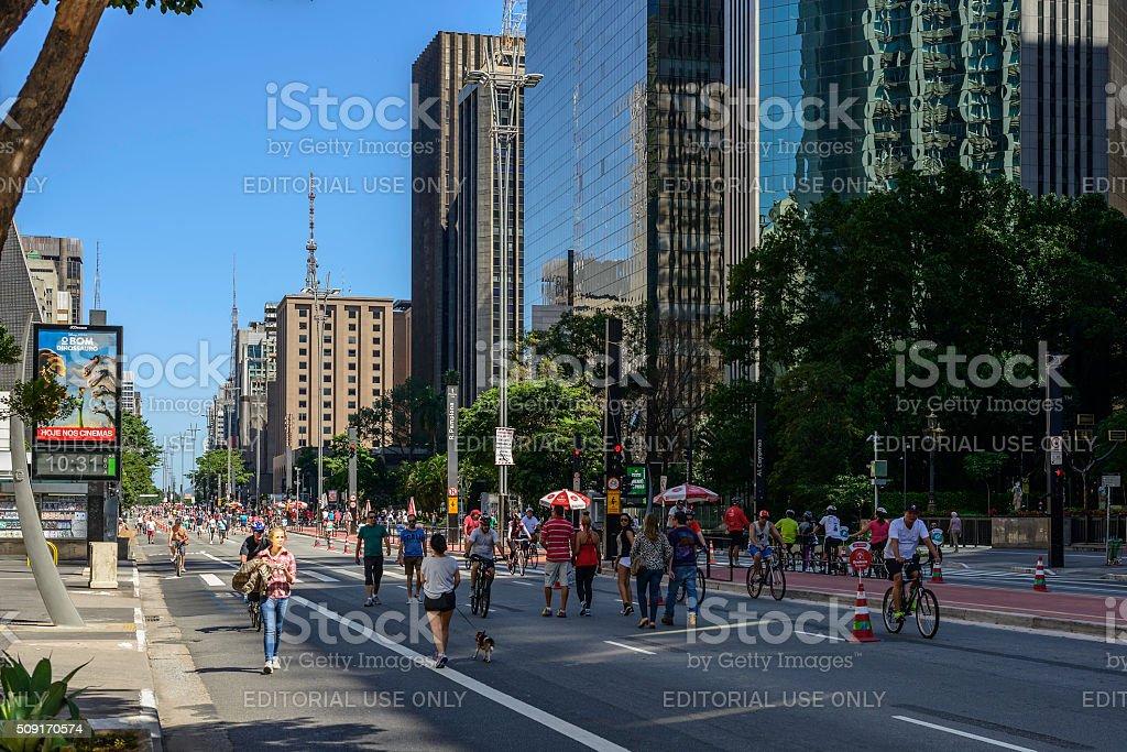 Sunday on Paulista Avenue, Sao Paulo, Brazil stock photo