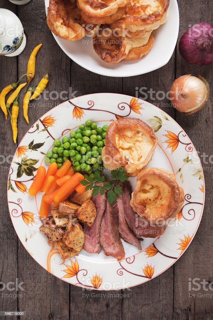 Sunday roast with yorkshire pudding stock photo