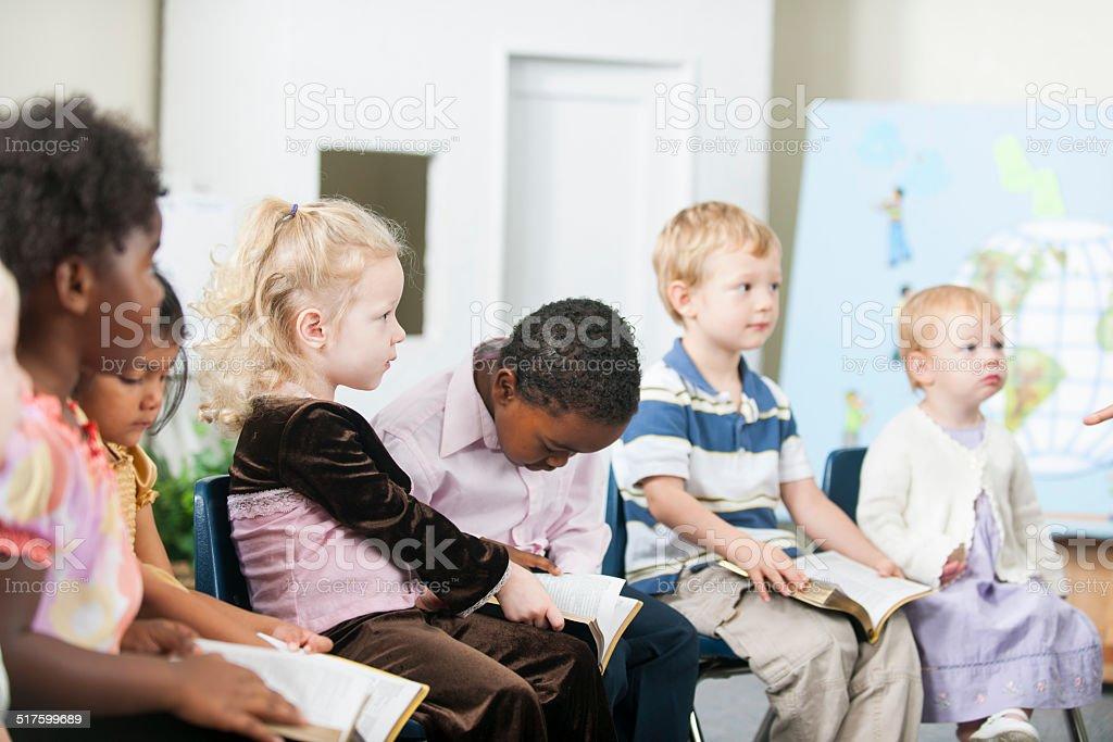 Sunday school kids stock photo