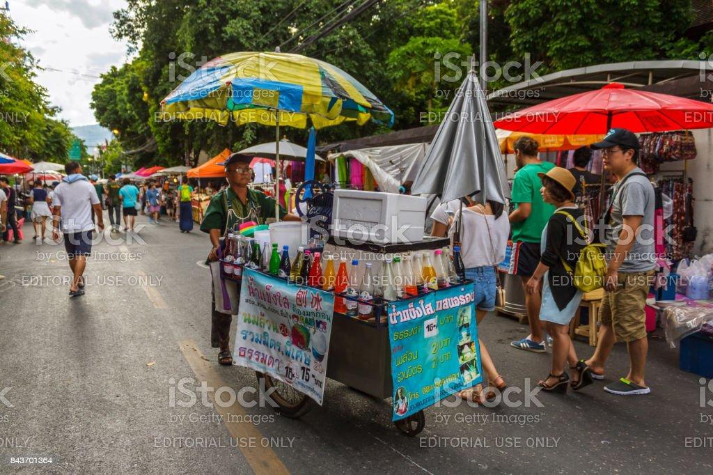 Sunday walking street market in Chiang Mai, Thailand stock photo