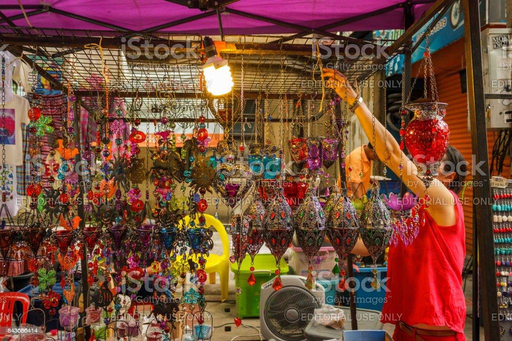 Sunday walking street night market in Chiang Mai, Thailand stock photo