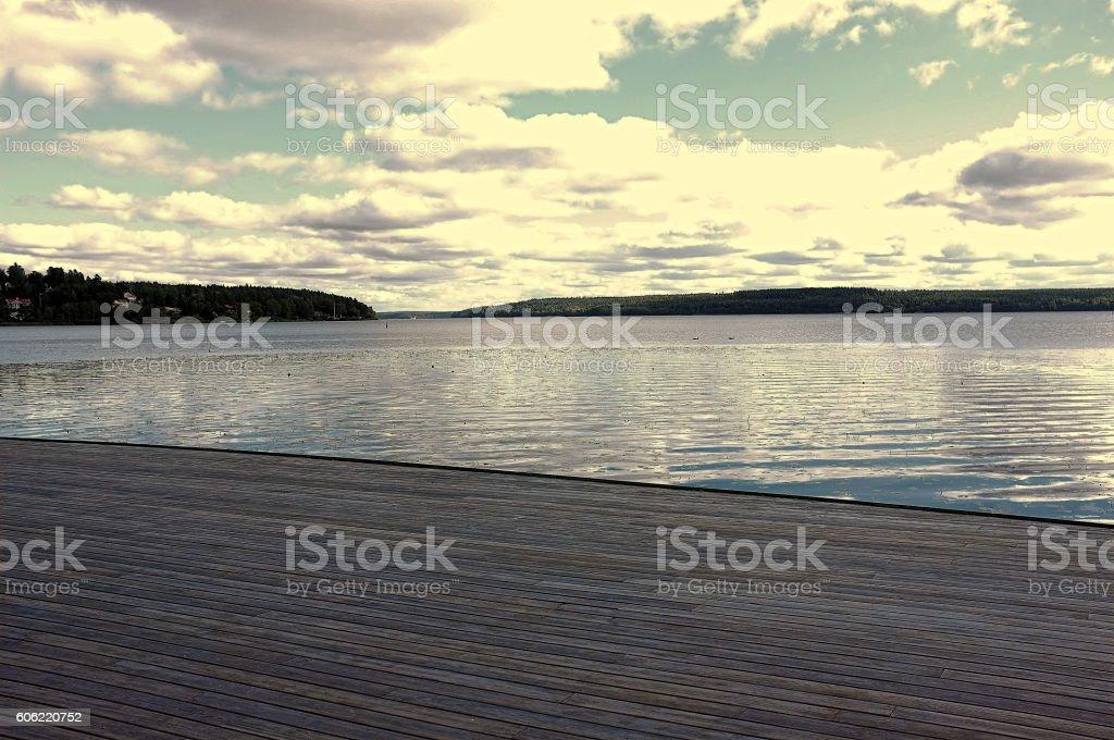 Sundeck on lake Mlaren in Sweden stock photo
