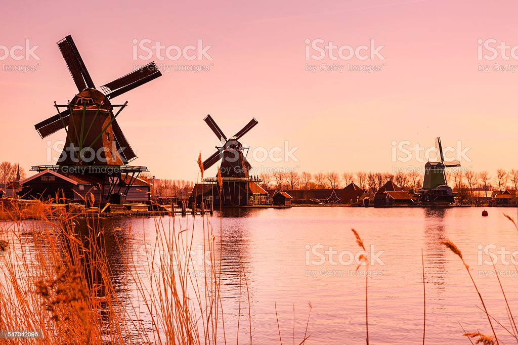 Sundet panorama with windmills in Holland stock photo