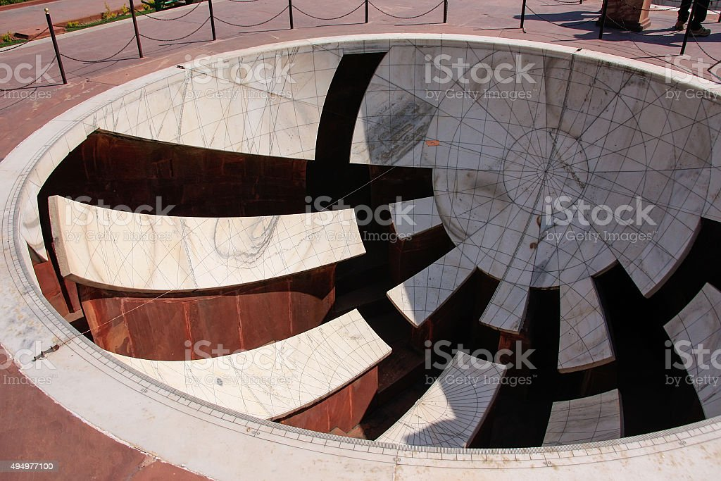 Sundial at Astronomical Observatory Jantar Mantar in Jaipur, Ind stock photo
