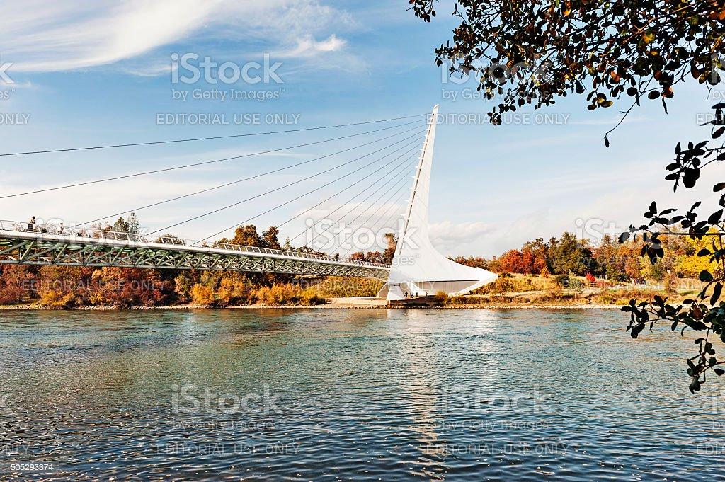 Sundial Bridge with Visitors in Redding California stock photo