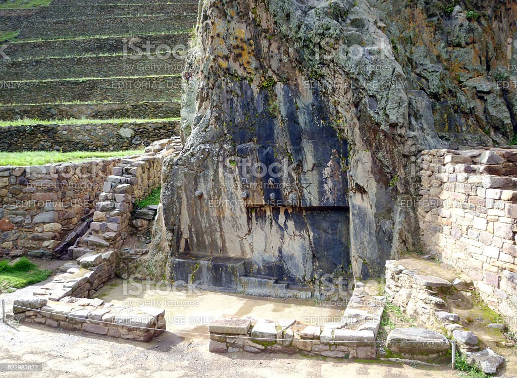 Sundial carved on rocks in Ollantaytambo stock photo