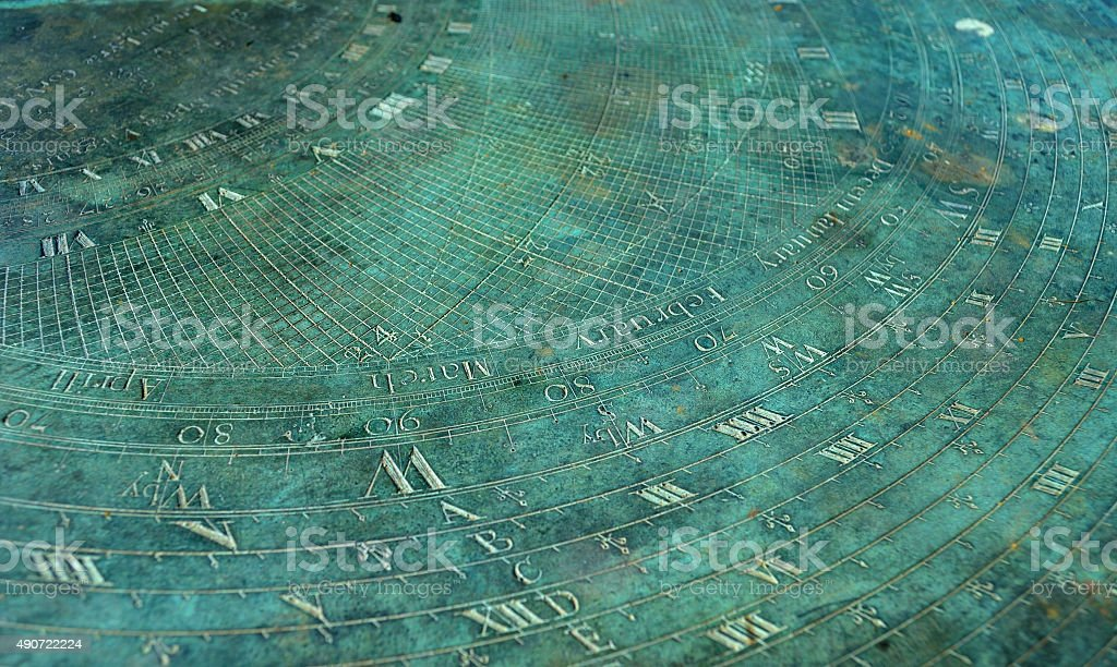 Sundial Detail Copper Oxide Surface stock photo
