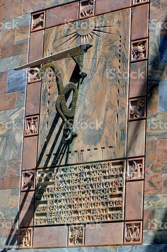 Sundial on Bok singing tower in Florida USA stock photo