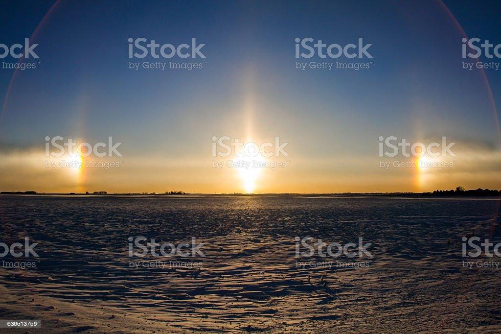 Sundog during a sunset stock photo
