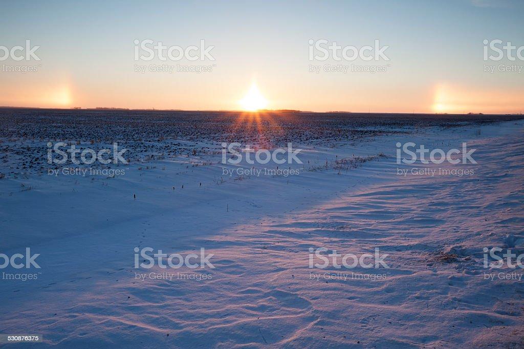 SunDog in the Prairies Manitoba Canada stock photo