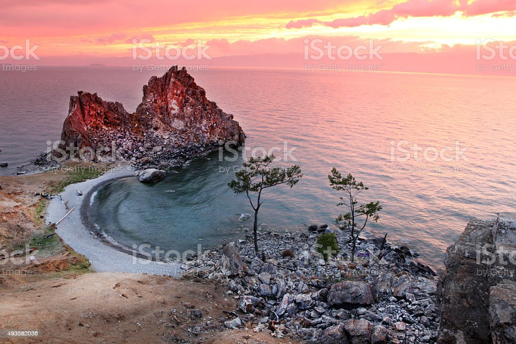 Sundown at Shaman Rock, Lake Baikal, Russia stock photo