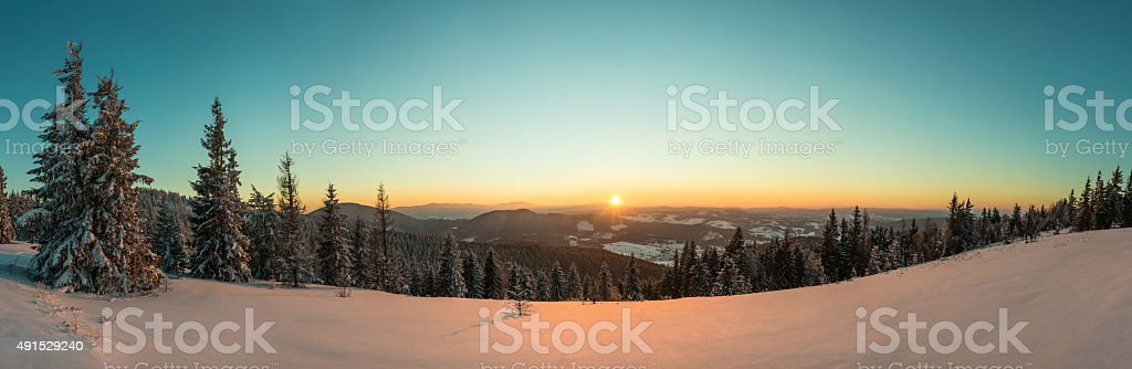 Sundown in Carpathian Mountains stock photo