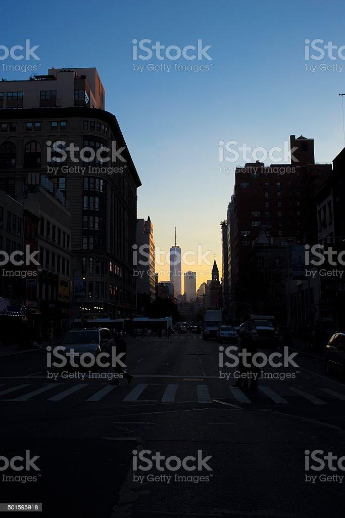Sundown in Manhattan with 1WTC in background stock photo