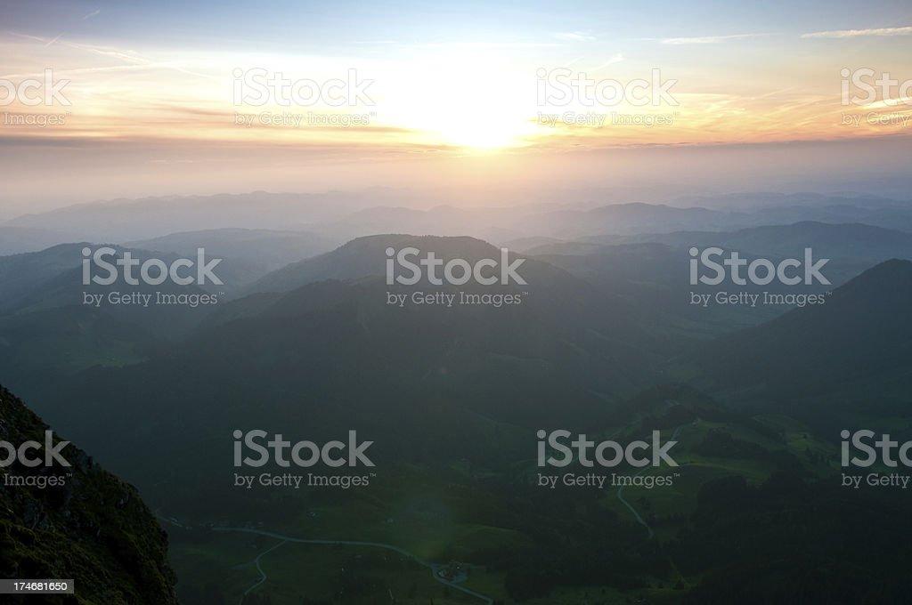 sundown in the swiss alps royalty-free stock photo