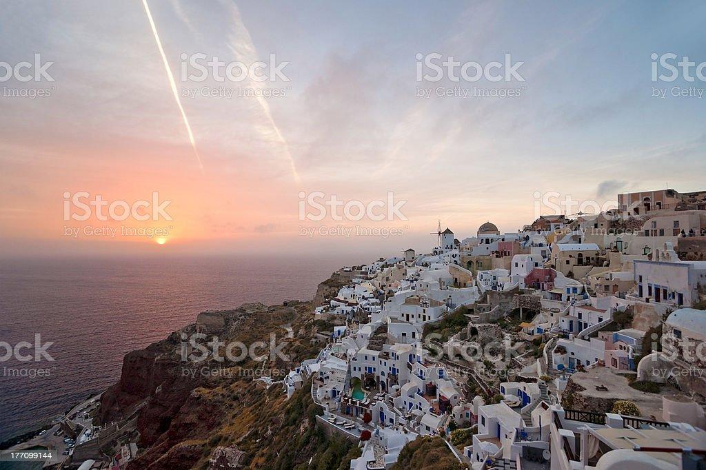 Sundown of Santorini island stock photo