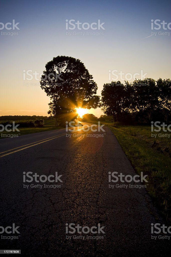 Sundown on a Country Road stock photo