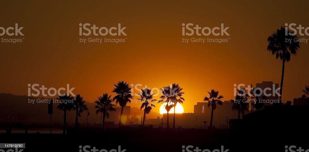 Sundown Over Long Beach royalty-free stock photo