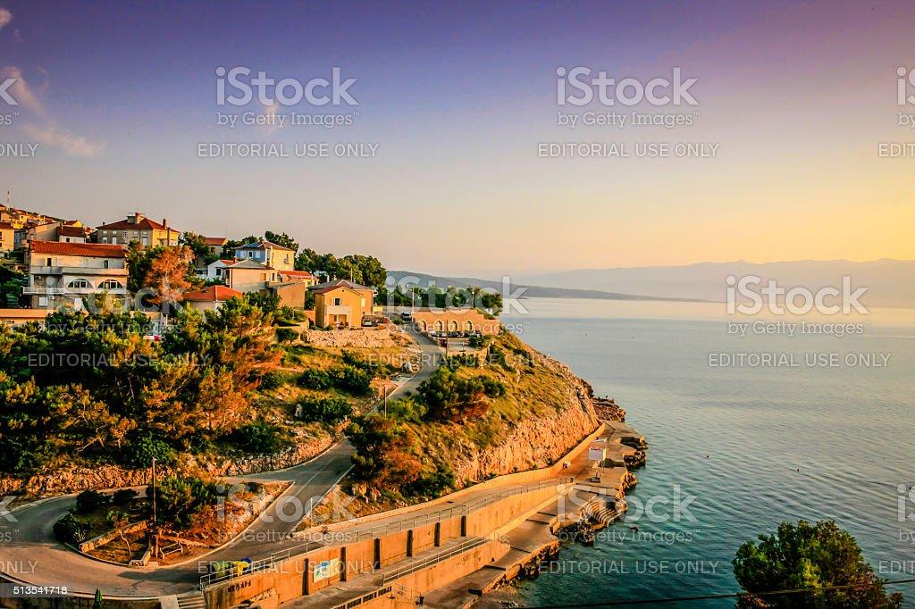 Sundown over the Adriatic coastline town of  Vrbnik in Croatia stock photo