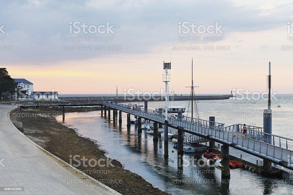 sundown over urban port in Le Croisic town, France stock photo