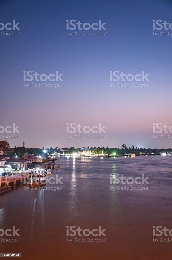 Sundown Time at Pakkret, a small town near river stock photo