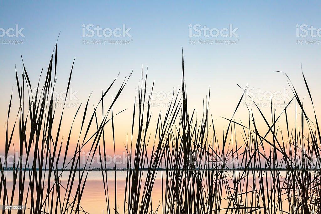 Sundown view of the Sneekermeer, The Netherlands stock photo
