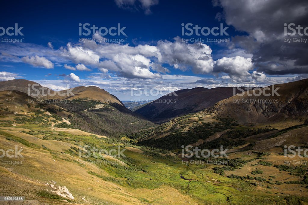 Sundrenched Valley in Rocky Mountain National Park stock photo