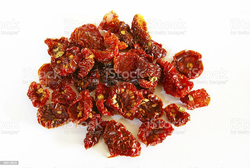 Sun-dried cocktail tomatoes stock photo