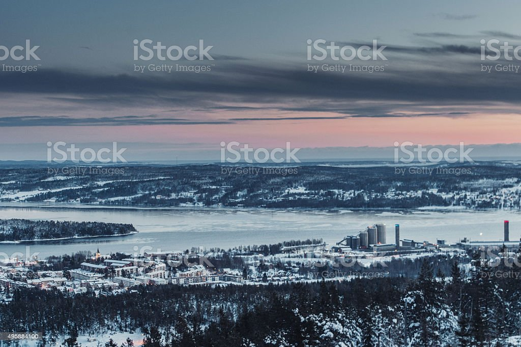 Sundsvall city in Norrland Sweden stock photo