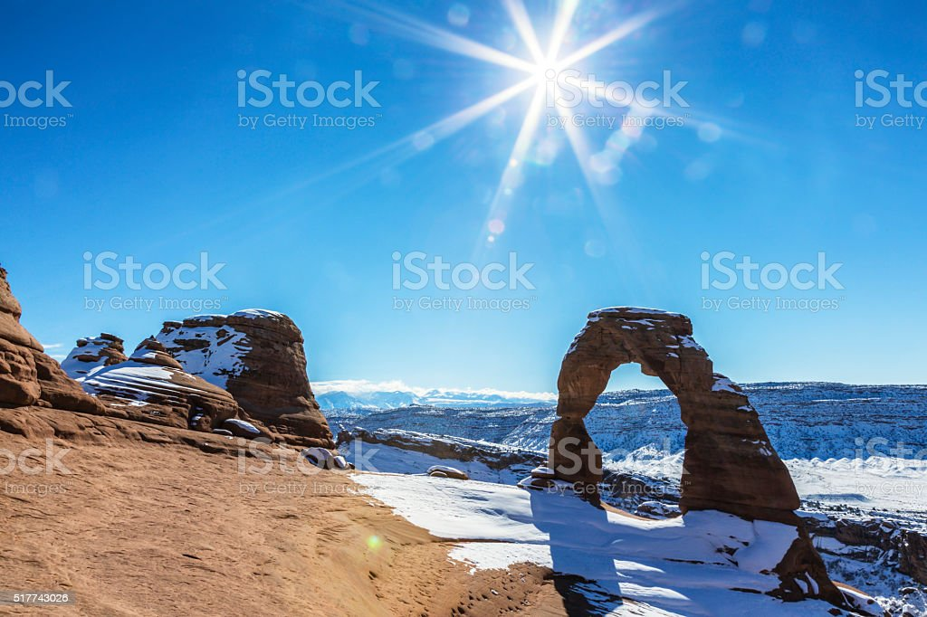 Sunflare Delicate Arch - Arches National Park Utah USA stock photo