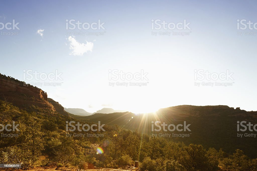 Sunflare in Sedona Arizona royalty-free stock photo