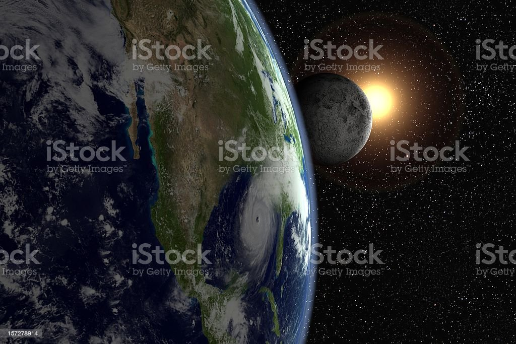 Sunflare, moon and hurricane over Florida stock photo