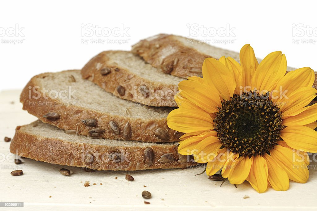sunflower bread stock photo
