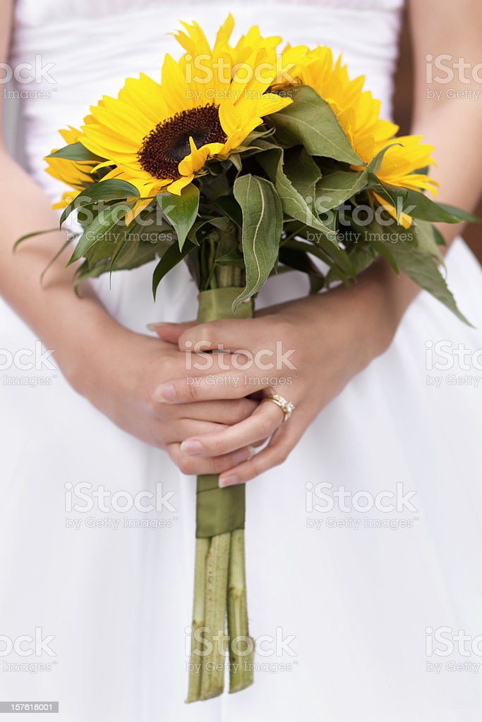 Sunflower Bridal Bouquet stock photo