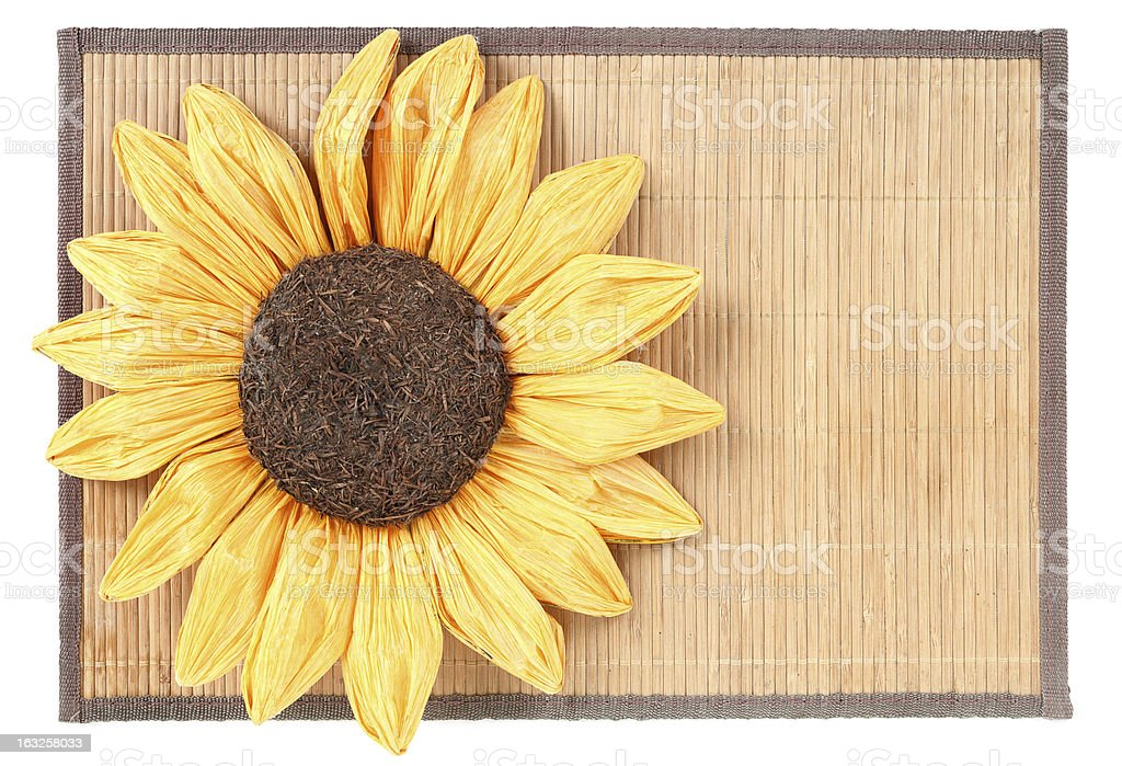 sunflower decoration on wooden table setting background royalty-free stock photo