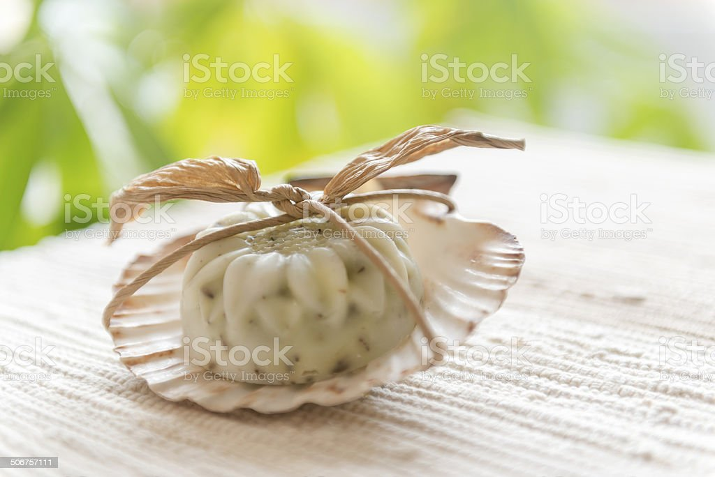 Sunflower Design Soaps with Lavender royalty-free stock photo