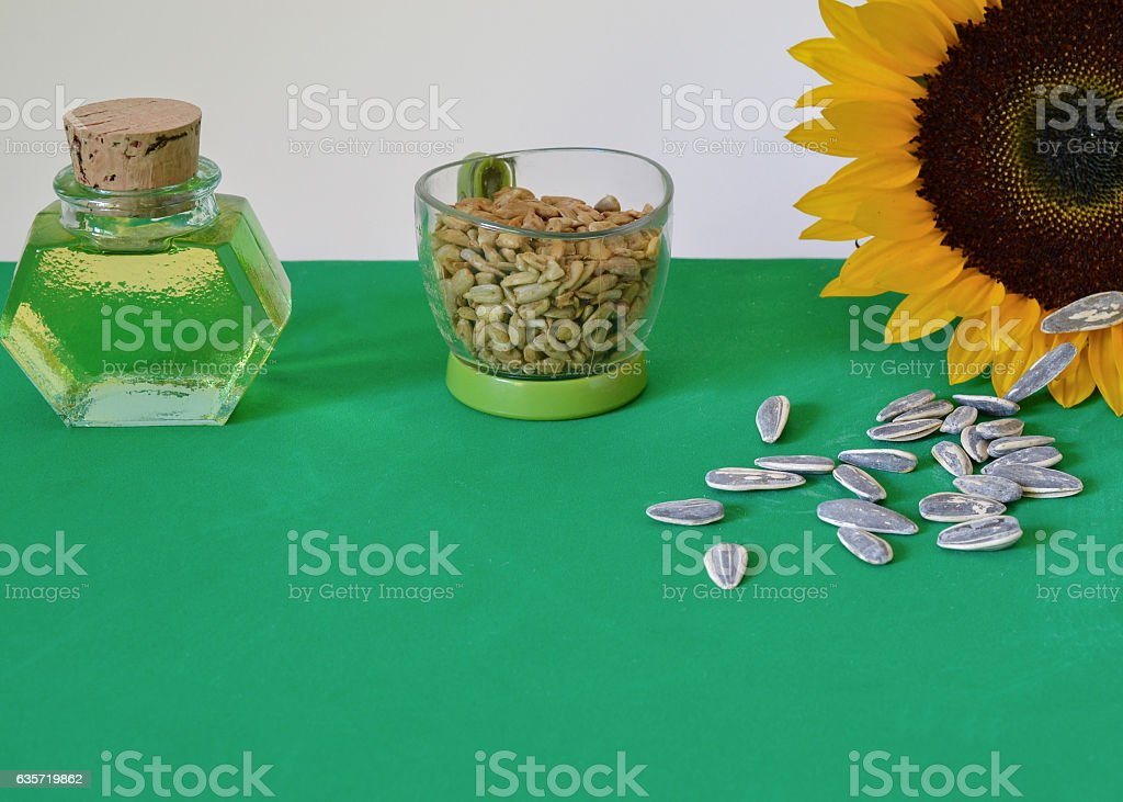 Sunflower edible products stock photo