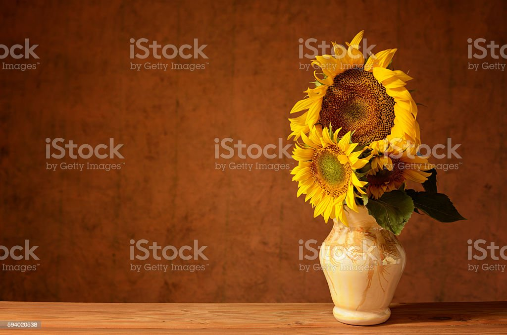 Sunflower in the ceramic vase stock photo