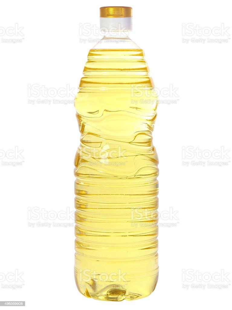 Sunflower oil in plastic bottle stock photo