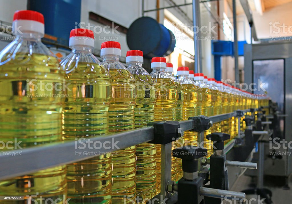Sunflower oil in the bottle stock photo