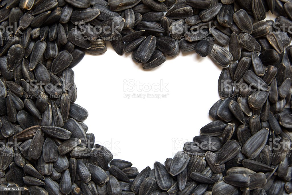 Sunflower seeds - heart shape stock photo