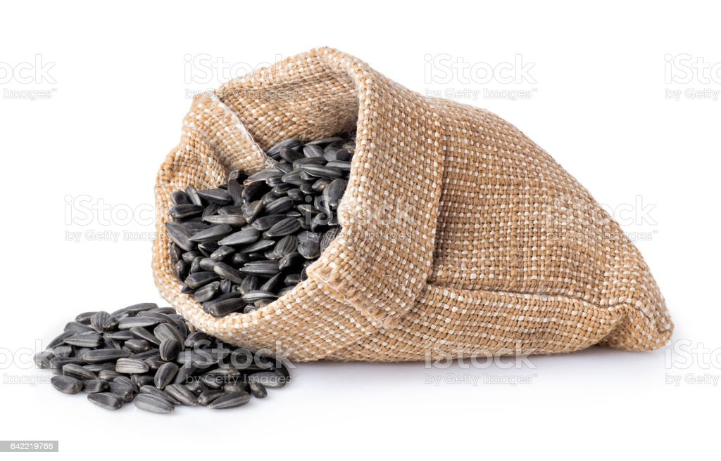 sunflower seeds in bag stock photo