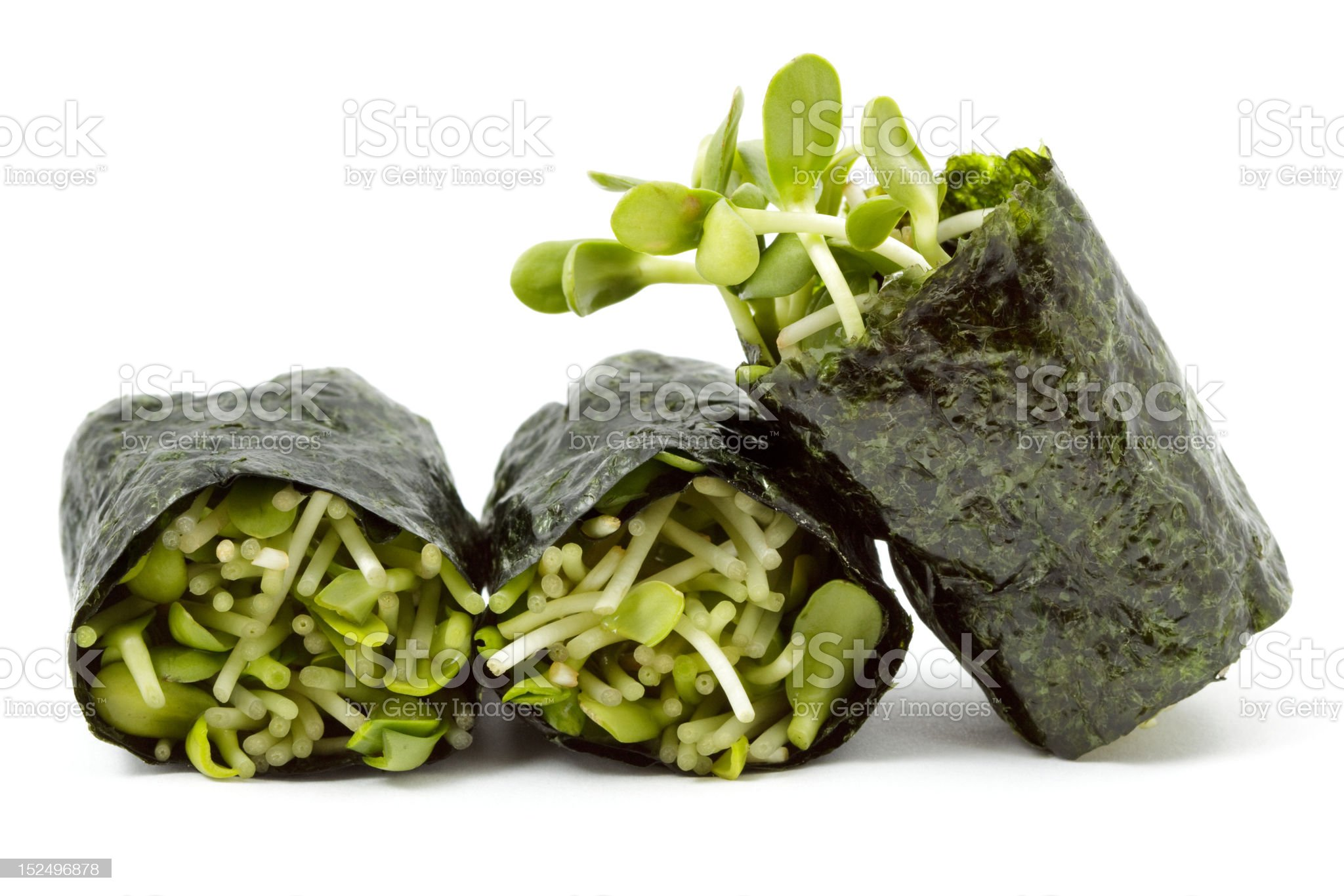 Sunflower sprouts wrapped in sushi nori royalty-free stock photo
