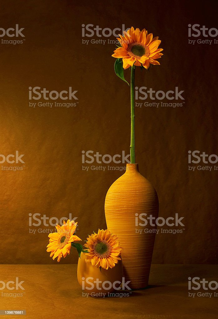Still life with sunflowers in warm light