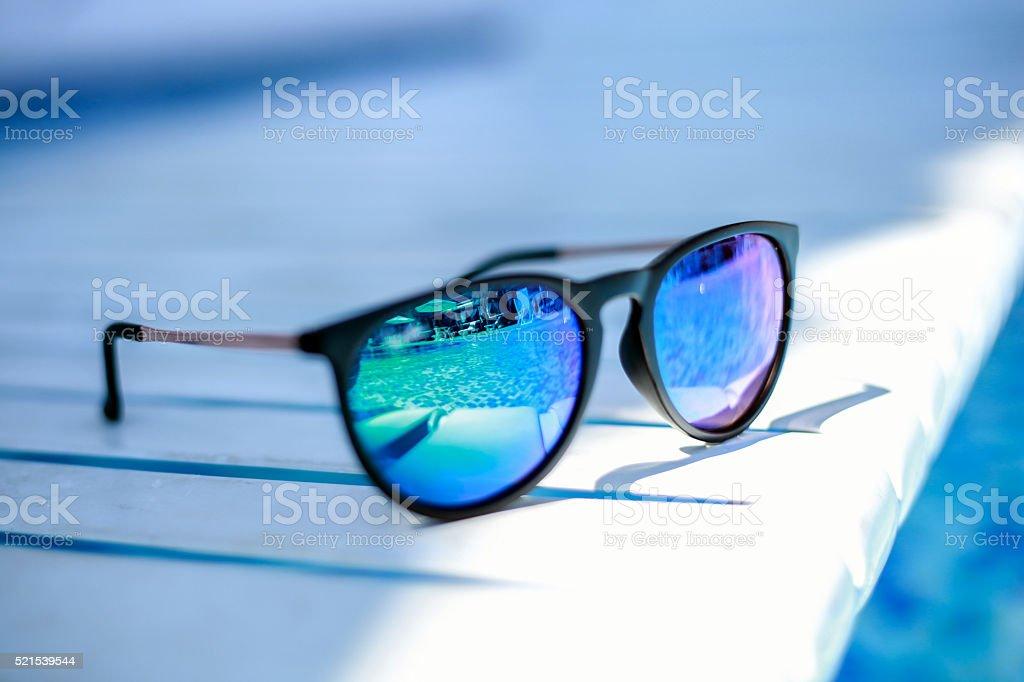 Sunglass reflection stock photo